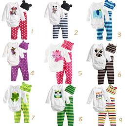 Wholesale Beanie Kids Clothes - Jumpsuits babay clothing suit babies Romper pants hat beanie three-piece suit boy girls clothing sets kids clothes
