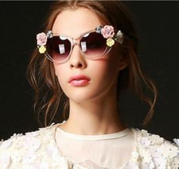 Wholesale Baroque Resin Frame - Baroque sunglasses summer Ceramic flower sunglasses stereoscopic rose glasses