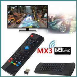 google wireless mouse Rabatt MX3 2,4 Ghz Drahtlose Tastatur Air Fly Mouse Universal Fernbedienung Mit MIC Voice Für Android TV BOX VS RII I8 Tastatur