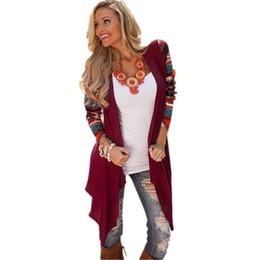 Wholesale Trendy Winter Sweaters - Wholesale-Women Long Cardigan 2016 Women's Trendy Winter Knitted Sweater Open Stitch Long Sleeve Cardigans Casual Aztec Striped Print Tops