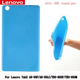 Wholesale Lenovo Silicone - Wholesale- For Lenovo TAB3 TB3-850F TB3-850M PC Silicone Rubber Case Protective Shell New Silicone Rubber Case Tab2 A8-50F A8-50LC +Gift