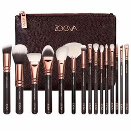 Wholesale Face Brushes Wholesale - 016 ZOEVA Rose Golden Complete Set Makeup Brushes 3 Styles with Leather Package Face&Eye Brushes Daily Cosmetics Brushes