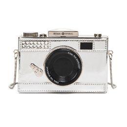 Wholesale purse camera - Wholesale-Funny Camera Designer Mini Flap Bag Leather Laser Mirror Shoulder Messenger Crossbody Bags Clutch Purse Day Clutches bolsa Li695