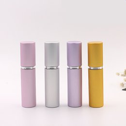 Wholesale Vertical Parties - Vertical stripe 5ml Empty Aluminum Spray Refillable Perfume Bottle Scent Sample Glass Bottles Atomizer for Travel Party Make Up Tool