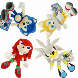 """Wholesale Tails Doll - Hot New 4 Styles 8""""-9"""" 20CM-23CM Sonic The Hedgehog Stuffed Doll Sonic Knuckles Silver Tails The Echidna Dolls Soft Gifts Plush Toys"""