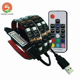 Wholesale Free Tv Laptop - 5V USB LED strip 5050 RGB LED Strip Light Laptop Computer TV Background Flexible Lighting With Mini RGB Controller free shipping