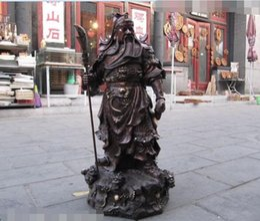 "Wholesale Bronze Warrior Statues - 28"" Chinese Pure Red Copper Bronze Nine Dragon Guan Gong Guan Yu warrior Statue"
