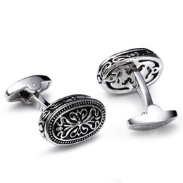 Wholesale Oval Cufflinks - High quality metal men cufflinks 3 colors of Rose gold Gun Anti-rhodium plate Oval shape cufflinks for shirt Dress