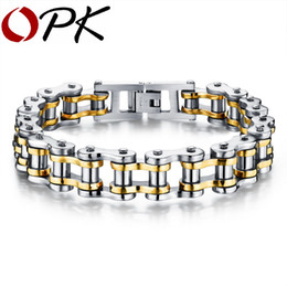 Wholesale Bicycle Chain Links - OPK Biker 316L Stainless Steel Mens Bracelet Fashion Sports Jewelry Bike Bicycle Chain Link Bracelet Casual Jewellery GS781