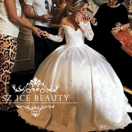 Wholesale Lace Up Corset For Wedding - Illusion Lace Off Shoulder Wedding Dresses Puffy Ball Gown Vintage Long Sleeves Ivory Corset Back Bridal For Women Plus Size 2017