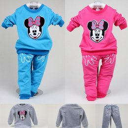 Wholesale Kid Clothing Logo - 2017 Minnie Children Clothes Sets Baby Girls Sport Suits Kids Tracksuit Girls Sweater Trouser Girl Clothing Embroidery Logo