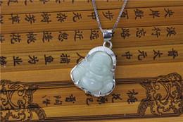 Wholesale White Jadeite Pendant - Jadeite Emerald Necklace Pendant Silver Necklace A Genuine Authentic Emerald Laugh Buddha Buddha Pendant Inlay 925 Sterling Silver Pendant