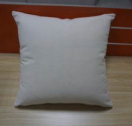 Wholesale Pillow Cover Cotton - 12 oz natural canvas pillow case 18x18 plain raw cotton embroidery blank pillow cover