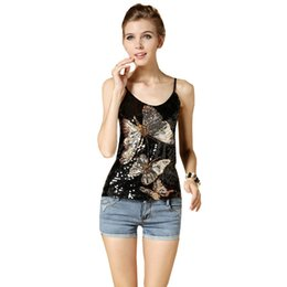 Wholesale Black Sequin Tank Top - European style high quality women's top new paillette butterfly tank summer tanks & camis sequin vest women tops Dropshipping