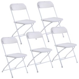Wholesale Party Folding Chairs - New Set of 5 Plastic Folding Chairs Wedding Party Event Chair Commercial White