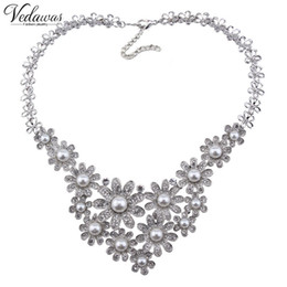 Wholesale Multi Layer Pearls Necklace - luxury 2017 New Multi-layer Imitation Pearl Crystal Beads Flower Statement Necklace Maxi Daisy Collar Women Jewelry Gift 1294