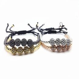 Wholesale Macrame Jewelry - Men Braiding Macrame Bracelets Pave Black 8mm CZ Ball Connector Jewelry & 6mm Titanium Steel Bracelets Women