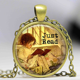Wholesale Read Love - Fairytales Library Pendant Necklace Love to Read Bibliophile Jewelry Library Colar Young Child Reading a Book Long Necklace
