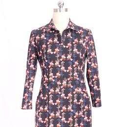Wholesale Vintage Sheath Dress Xs - L-4XL Plus Size Women Clothing 2017 New Spring Floral Dress Women Ruffled Collar Long Sleeve Knee Length Elegant Dress