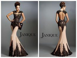 Wholesale Janique Prom - 2018 Mermaid Evening Dresses Janique Prom Dresses Champagne Chiffon Black Lace Jewel Capped Backless Applique Evening Gowns Custom Made