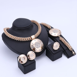 Wholesale Costume Big Necklace Sets - Luxury Big Dubai Gold Color Crystal Jewelry Sets Fashion Nigerian Wedding African Beads Costume Necklace Bangle Earring Ring