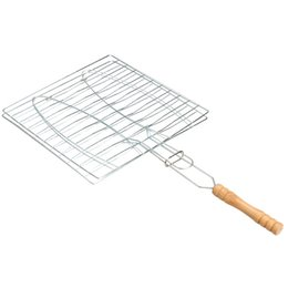 Wholesale Wholesale Wooden Baskets - Wholesale- BBQ Barbecue 2 Fish Grilling Basket Roast Folder Tool with Wooden Handle