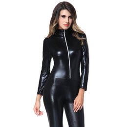 Wholesale Pvc Sexy Outfits - Sexy Wetlook Hot Shiny Black Stretch PVC Catsuit Cat Woman Outfit Costume Jumpsuit Gothic Clubwear