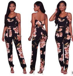 Wholesale Harness Clothing Fashion - New Europe and the United States Style Rompers sexy Harness printed lotus leaf side Jumpsuits Casual fashion women clothing