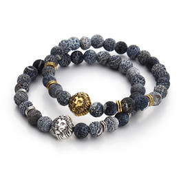 Wholesale Tiger Eyes Stone Bangles - 2016 Tiger Eye Lion Head Bracelet Buddha beads Bracelets Bangles Charm Natural Stone Bracelet Men Jewelry pulseras hombre F3224