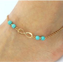 Wholesale Gold Love Anklet Bracelet - HOT 20 lot Women Gold Chain 8 Infinity Symbol Ankle Anklet Bracelet Sandal Beach Foot Jewelry