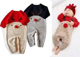 Baby overall häkeln online-Weihnachten Strampler Infant Baby Knit Deer Overalls Kleinkind Gestrickte Häkelspiel Strampler Baby Herbst Kleidung A08