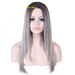 Wholesale Long Gray Wigs For Women - Free Shipping hot sale Female Synthetic Wigs For Black Women Long Straight Gray Ombre Synthetic Wig Cospaly Wigs For Women
