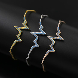 Wholesale High Quality Stretch Bracelets - Micro Pave Color Cubic Zirconia Stone Lightning Stretch Charm Bracelets Bangles For Women Middle Eastern Dubai Fashion Jewelry High Quality