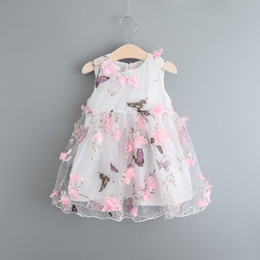 Wholesale Cotton Wedding Flowers - Baby Clothes Kid Girls Summer Dress Girl Pageant Wedding Dress Lace Flower Dress
