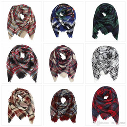 Wholesale Tie Dyed Scarves - Kids Plaid Blanket Scarves Tartan Striped Tassels Scarf Fashion Warm Neckerchief Autumn Winter Baby Scarf Shawl Wholesale Accessories H151