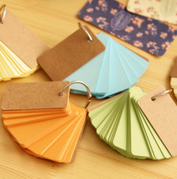 Wholesale Wholesale Note Cards Blank - Wholesale- 1Pcs set Kawaii Candy Color Blank Kraft Paper Memo Pads Portable Notepads Words Cards Kids Gift Stationery School Supplies