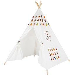 Wholesale Canvas Pole Tent - Wholesale-Four Poles Indian Play Tent Cartoon Owl Children Teepees Kids Tipi Tent Cotton Canvas Teepee White Play House for Baby Room