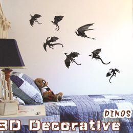 Wholesale Vintage Bathroom Poster - 7pcs set Black 3D Dinos Wall Sticker DIY PVC Wall Decals Halloween Festival Decoration Vintage Poster Background Decorative