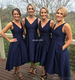 Wholesale Winter Hi Lo Formal Dresses - Modest 2017 Navy Country Bridesmaid Dresses V-Neck Sleeveless Short Prom Dresses High Low Back Hi-Lo Custom Made Formal Occasion Party Gowns