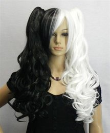 Wholesale Black Long Wigs Pigtails - Free Shipping>>>2018 New black white long curly cosplay full wig + two pigtails