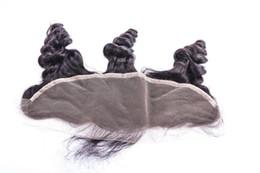13x4 chiusure frontali in pizzo 100% non trasformati mongolo onda sciolta capelli umani economici frontali in pizzo parte libera con nodi candeggiati FreeShip da