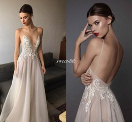 Wholesale Embroidered Back Dress - 2017 Sexy Ivory Berta Evening Dresses Deep V Neck Spaghetti Straps Embroidered Chiffon Backless Summer Illusion Long Prom Dresses