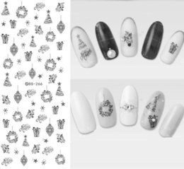 Wholesale Fingernail Decals Stickers - Wholesale- DS266 Design Water Transfer Nails Art Sticker Black Strings Drawing Pendent Nail Wraps Sticker Watermark Fingernails Decals