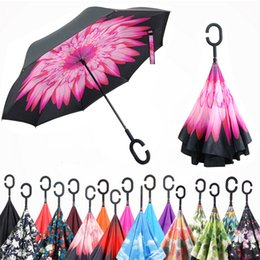 Wholesale Double Fabric Umbrellas - Inverted Umbrella Double Layer Reverse Rainy Sunny Umbrella with C Handle J Handle Self Standing Inside Out Special Design Free