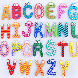 Alphabet spielzeug online-Words Fridge magnets 26pcs Set Children Kids Wooden Cartoon Alphabet Education Learning Toys Adult Crafts Home Decorations Gifts HH-F02