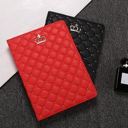 Wholesale Crash Plastic - For Apple IPAD 2 3 4 5 6 Mmini 1 2 3 ipad mini4 PU Leather Tablet case Rhinestone Crown Design Anti-crash cover shell