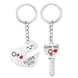 Wholesale Love Necklace For Couples - I LOVE U Couple Set Necklace & Key Chain Jewelry Monogram Keychain Necklaces for Boyfriend Girlfriend Gift CK1081
