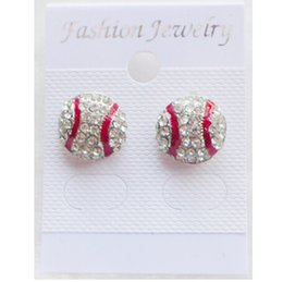 Wholesale Good Quality Crystal Earrings - new arrival good cheap New High quality Sport Softball Crystal Rhinestone Stud Earrings Fashion Jewelry Earrings For Women And Girl