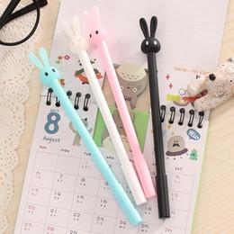 Wholesale Office Supply Stationary Set - Wholesale- 4Pcs Lot Rabbit Gel Pens Set Kawaii School Supplies Office Stationary Photo Album Kawaii Pens Stationery Black Ink Pen 2017
