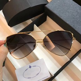Wholesale Purple Steampunk - PD 0987 Retro Sunglasses Women Brand Designer Metal Frame Gold Plated Square Frame Retro Steampunk Style UV400 Lens Come With Original Case